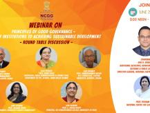"""NCGG Webinar on """"Principles of Good Governance - Role of Institutions to Achieving Sustainable Development"""""""