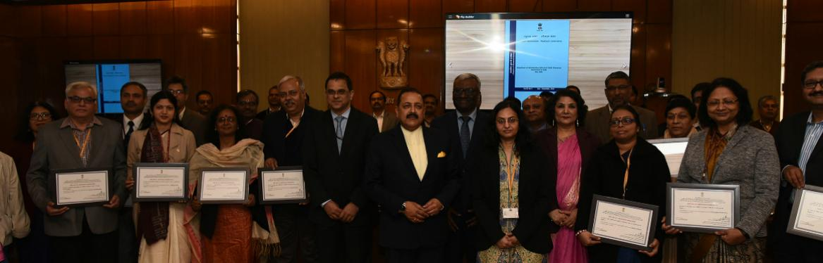 MOS (PP) Dr. Jitendra Singh conferred Certificates of Appreciation to nine Ministries/Departments on 12.02.2019 for achieving the target of e-Office implementation