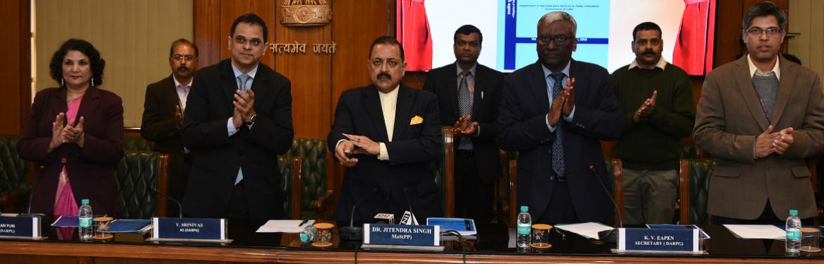 MOS (PP) Dr. Jitendra Singh Releasing the e-Magazine titled Minimum Government : Maximum Governance (MGMG) on 12.02.2019