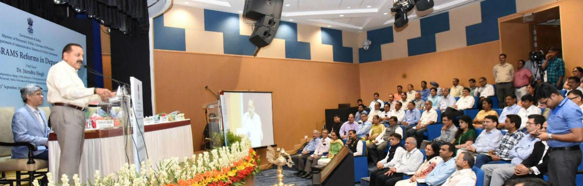 MoS Dr Jitendra Singh releasing a booklet at the launch of Centralised Public Grievances Redress and Monitoring System (CPGRAMS) reforms in Department of Posts, at a function organised by Ministry of Personnel, Public Grievances and Pensions,  in New Delhi on September 25, 2019. The Secretary (DARPG & Pensions) Shri K. V. Eapen and Director General Posts, Smt Meera Nanda is also seen.