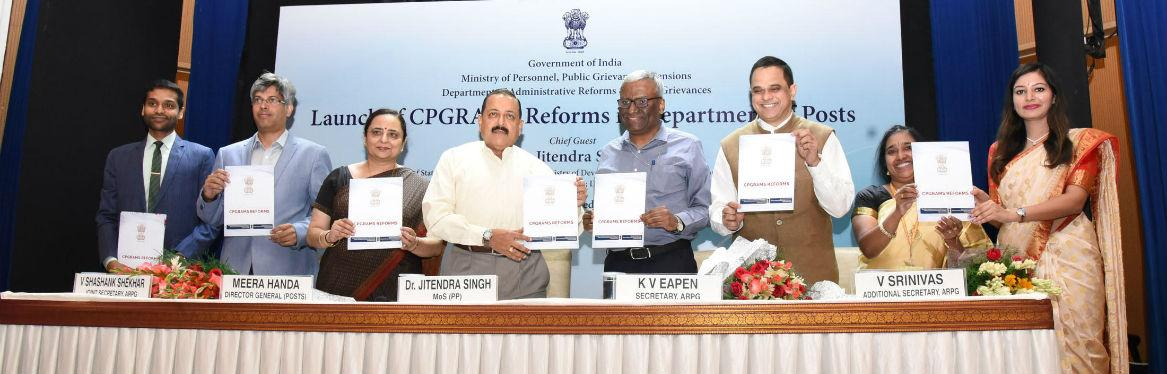 MoS Dr Jitendra Singh addressing at the launch of Centralised Public Grievances Redress and Monitoring System (CPGRAMS) reforms in Department of Posts, at a function organised by Ministry of Personnel, Public Grievances and Pensions,  in New Delhi on September 25, 2019. The Secretary (DARPG & Pensions) Shri K. V. Eapen and Director General Posts, Smt Meera Nanda is also seen.