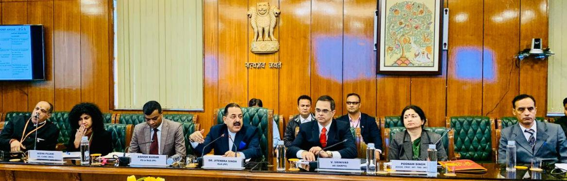 Dr Jitendra Singh, MOS (PP) with Mrs Awa Auber Vice Chair Gambia Public Service Commission in a bilateral meeting held at New Delhi on 02.12.2019. India and Gambia to work out MoU on Refurbishing Personnel Administration of Gambia
