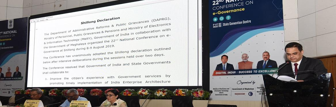 Shillong Declaration 22nd National Conference on e-Governance